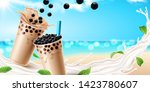 bubble milk tea ads with... | Shutterstock .eps vector #1423780607
