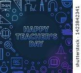 happy teacher's day vector... | Shutterstock .eps vector #1423842341