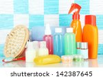 hotel cosmetics kit on shelf in ... | Shutterstock . vector #142387645