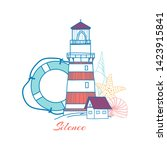 postcard with a lighthouse ... | Shutterstock .eps vector #1423915841