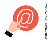 hand clicking send email button ... | Shutterstock .eps vector #1423934867