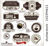 set of retro vintage coffee...   Shutterstock .eps vector #142394611