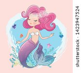 cute mermaid with little fishes ... | Shutterstock .eps vector #1423947524
