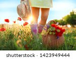 Woman With Basket Of Poppies...