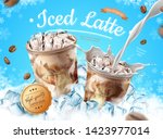 iced latte ads with ice cubes... | Shutterstock .eps vector #1423977014