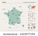 vector map of france. country... | Shutterstock .eps vector #1423977194