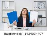 business woman paperwork office ... | Shutterstock . vector #1424034407
