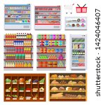 supermarket shelves set with... | Shutterstock .eps vector #1424046407