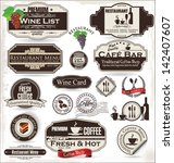 label set for restaurant and... | Shutterstock .eps vector #142407607