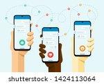 smartphone mockup in human hand.... | Shutterstock .eps vector #1424113064