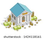 old cartoon bank building with... | Shutterstock .eps vector #1424118161