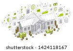 old cartoon bank building with... | Shutterstock .eps vector #1424118167