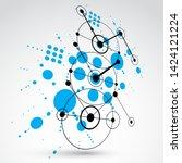 3d vector abstract blue... | Shutterstock .eps vector #1424121224