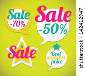 summer stickers with sale... | Shutterstock .eps vector #142412947