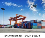industrial port with containers | Shutterstock . vector #142414075