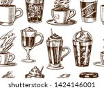 cups of coffee background in... | Shutterstock .eps vector #1424146001