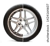 Small photo of Image of old refurbished tyre showing before and after conditions concept of restoration or improvement