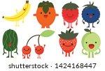 print cartoon doodles summer... | Shutterstock . vector #1424168447