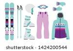 child ski equipment kit clothes ... | Shutterstock .eps vector #1424200544