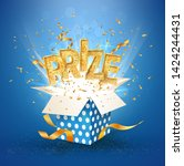 prize gold text. open textured... | Shutterstock .eps vector #1424244431