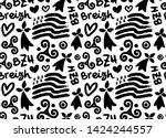 hand drawn grunge style doodle... | Shutterstock .eps vector #1424244557