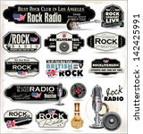 rock music radio station labels | Shutterstock .eps vector #142425991