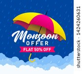 monsoon sale offer concept ... | Shutterstock .eps vector #1424260631