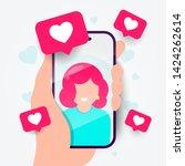 vector illustration dating app... | Shutterstock .eps vector #1424262614