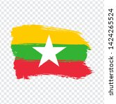 flag of  myanmar from brush...