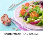rye bread and a plate of fresh... | Shutterstock . vector #142426861
