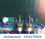 large container cargo ships are ... | Shutterstock . vector #1424279024