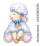 cute   sitting  baby  sheep... | Shutterstock . vector #1424282534