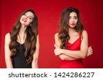 happy beautiful woman standing... | Shutterstock . vector #1424286227