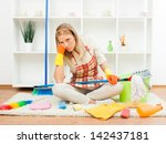 young housewife is tired of... | Shutterstock . vector #142437181
