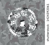 tombstone icon on grey camo... | Shutterstock .eps vector #1424392061