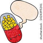 cartoon pill with speech bubble ... | Shutterstock .eps vector #1424395241