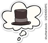 cartoon top hat with thought... | Shutterstock .eps vector #1424400491