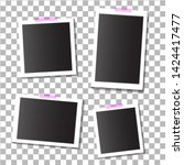 Set of empty template photo frames with adhesive, sticky tape on isolated background. Photo frame mockup. Empty photo card. Blank photo frame. vector eps10