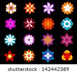 Set Of Colorful Flowers And...
