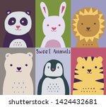animals pattern. cute zoo.... | Shutterstock .eps vector #1424432681