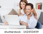 cheerful couple searching... | Shutterstock . vector #142453459