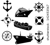 set of icons of the ships. a... | Shutterstock .eps vector #142453567