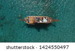aerial view of small wooden... | Shutterstock . vector #1424550497