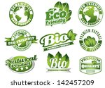bio labels with leafs in retro... | Shutterstock .eps vector #142457209