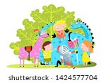 dragon and kids reading book.... | Shutterstock . vector #1424577704