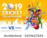 illustration of batsman player... | Shutterstock .eps vector #1424627654
