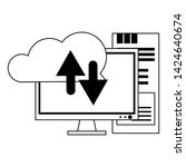 cloud computing and computer... | Shutterstock .eps vector #1424640674