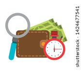 wallet with money timer and... | Shutterstock .eps vector #1424677541