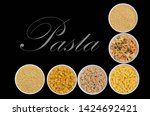 variety of dry pasta in ceramic ... | Shutterstock . vector #1424692421