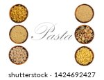 variety of dry pasta in wooden... | Shutterstock . vector #1424692427